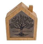 "Spaarpot ""House, tree & coins"" naturel hout 15x18x7cm"